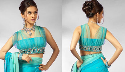 Saree Blouse Designs-Tube Style Blouse with Sheer Covering 18