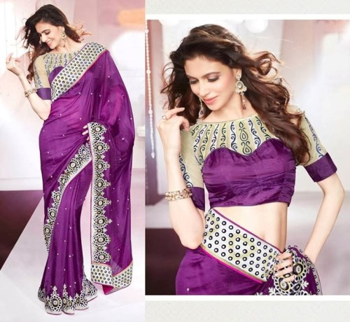 Saree Blouse Designs-Violet Blouse 3