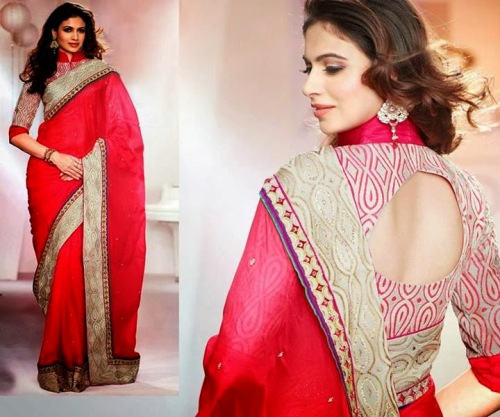 Saree Blouse Designs-White Blouse with Red Pattern 9
