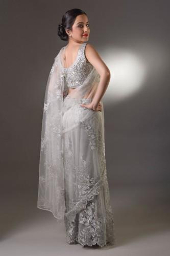 Silver Grey Wedding Party Saree 4