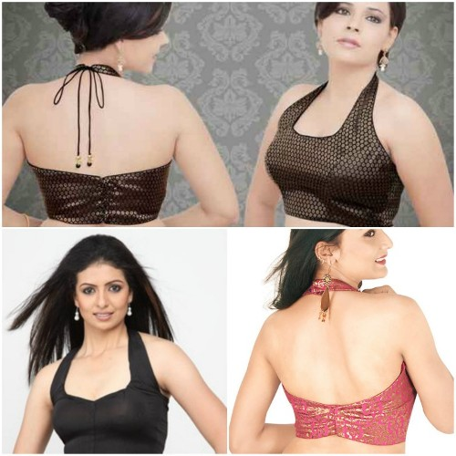 Simple Blouse Designs-Halter Neck Blouse 3