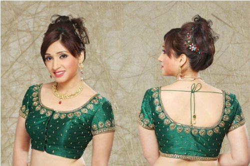Simple Blouse Designs-Plain Green Stringed Blouse 1