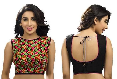 Simple Blouse Designs-Synthetic Embroidery Blouse 4