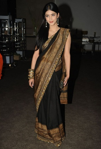 South Indian Designer Black and Golden Saree 13