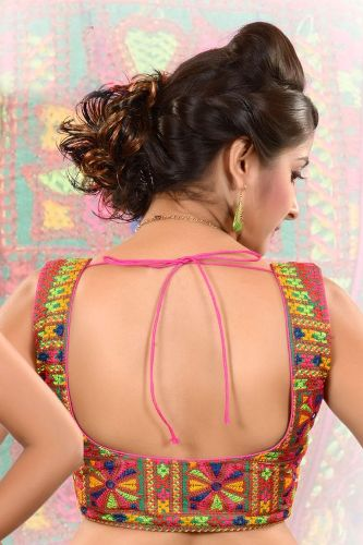 Square Neck Blouse Designs-Colorful Back Lace And Square Neck Blouse 9