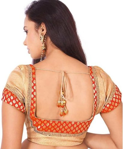 Square Neck Blouse Designs-Orange And Golden Double Color Square Neck Blouse 4