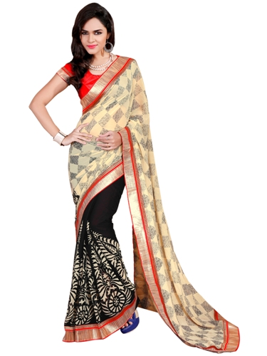 Surat Sarees-Cream White and Black Surat Saree 13