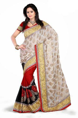 Surat Sarees-White and Red Surat Saree 11