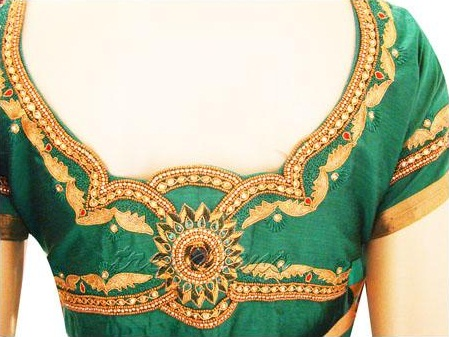 The Golden green Embroidery blouse Design