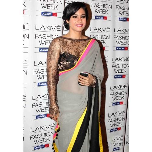 The High Neck Blouse Design For Plain Net Sarees