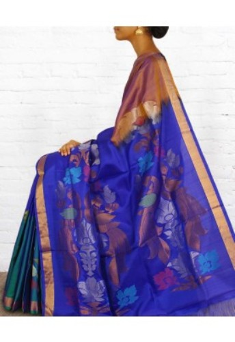 Uppada Sarees-Blue Artistic Uppada Saree 7