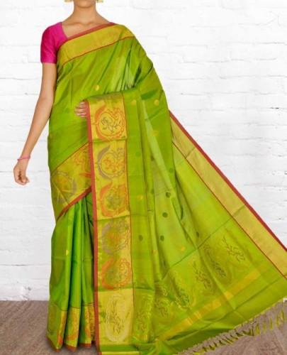 Uppada Sarees-Green Silk Uppada Sraee 18