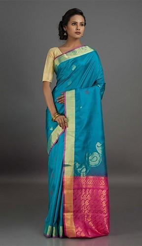 Uppada Sarees-Sky Blue Goddess Uppada Saree 9