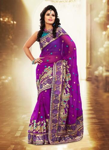 Violet Saree Designs-Best Designer Violet Saree 1