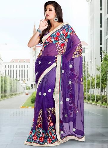 Violet Saree Designs-Colorful Violet Saree 5