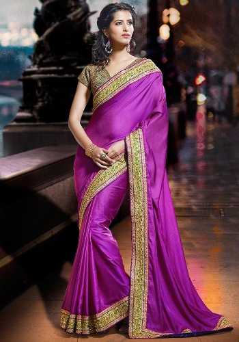 Violet Saree Designs-Embroidered Silk Violet Saree 8