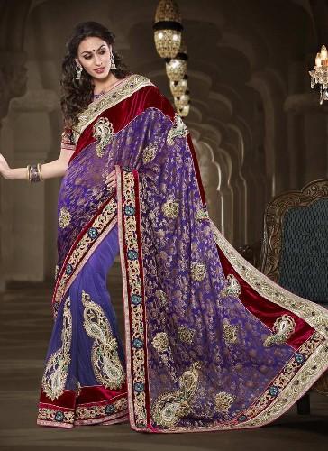 Violet Saree Designs-Red and Violet Saree Design 4