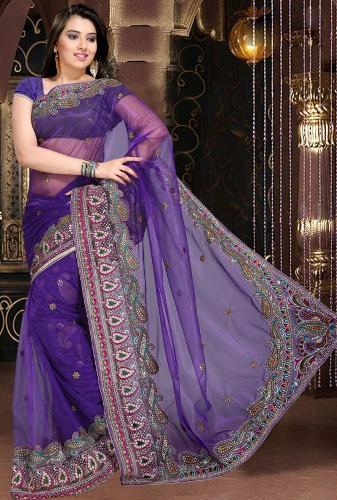 Violet Saree Designs-Violet Net Saree Design 7