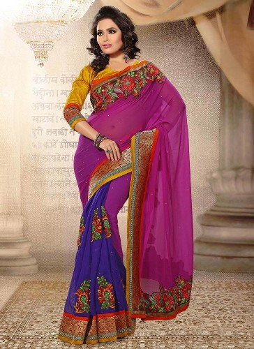 Violet Saree Designs-Violet Saree For Yellow Blouses 2