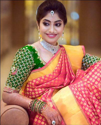 Wedding Blouse Design For Silk Sarees-Green Blouse Bridal Design For Silk Sarees 4