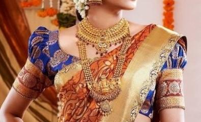 Wedding Blouse Design For Silk Sarees-Heavy South Indian Wedding Silk Blouse Design 6