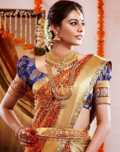 Wedding Blouse Design For Silk Sarees-Heavy South Indian Wedding Silk Blouse Design 6