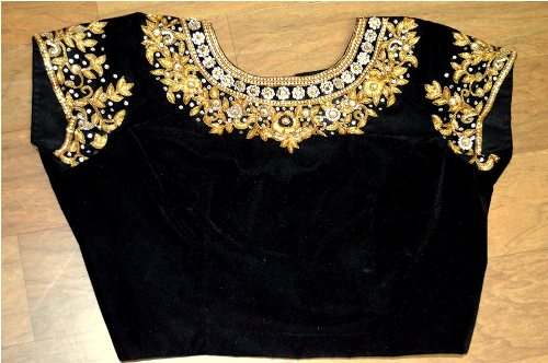 Wedding Blouse Embroidery Designs-Black Velvet Embroidery Blouse 10