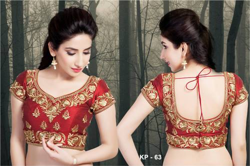 Wedding Blouse Embroidery Designs-Red Floral Embroidery Blouse 12