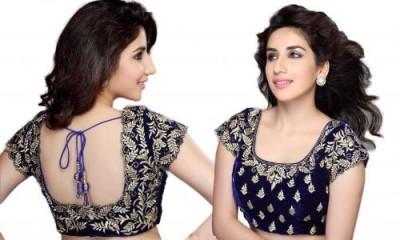Wedding Blouse Embroidery Designs-Velvet Embroidery Blouse in Blue 14