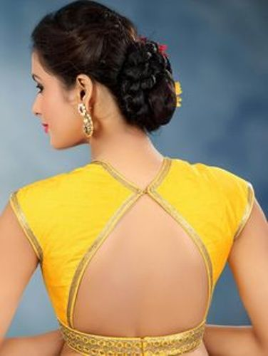 Yellow Blouse Designs-Triangle Shaped Yellow Blouse 6