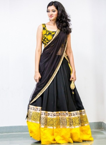 Yellow Blouse Designs-Yellow Blouse For Black Sarees 8