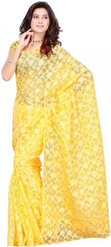 Yellow Saree With Floral Patterns 14
