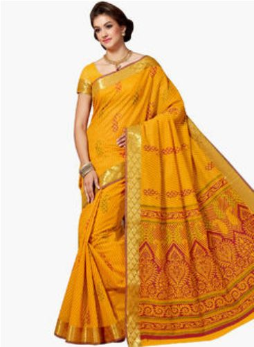 Yellow Sarees--Artistic Yellow Saree 7