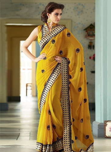 Yellow Sarees-Georgette Yellow Saree 5