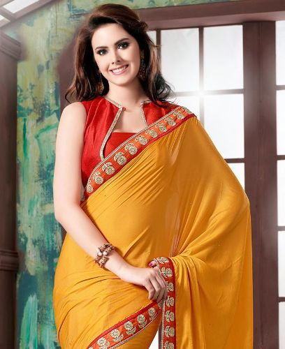 Yellow Sarees-Simple Yellow Saree With Red Borders 9