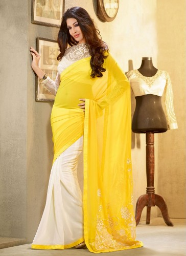 Yellow Sarees-The Off White and Yellow Saree 12
