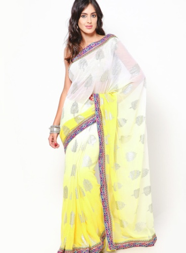 Yellow Sarees-The White and Yellow Saree 15