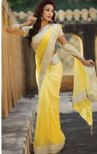 Yellow Sarees-White and Yellow Saree 4