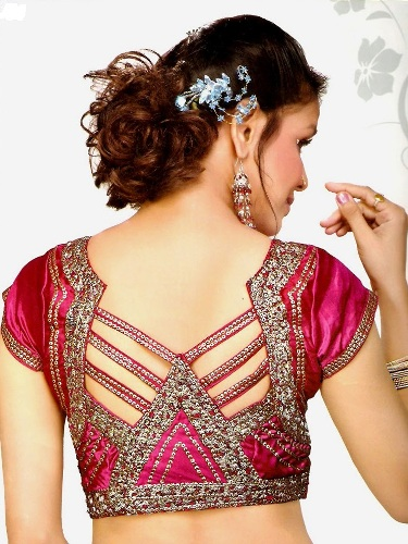 simple Embellished Blouse neck design