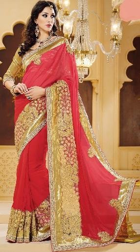 1.Tomato red designer chiffon saree with patch border