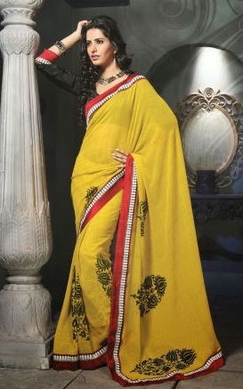 10.Yellow chiffon designer saree