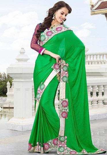 11.Green designer party wear chiffon saree