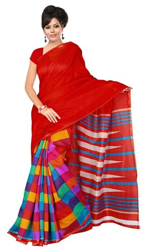 12. Red printed chanderi saree