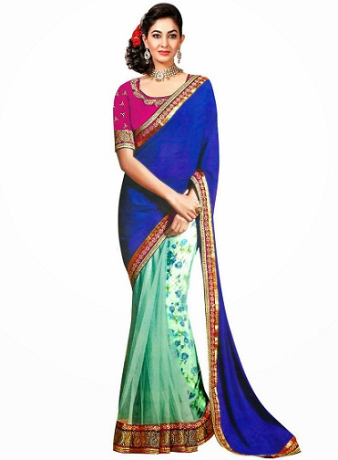 12. Turquoise and blue net and satin border work designer saree