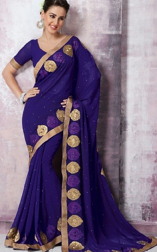 12.Simple violet coloured chiffon saree with golden border
