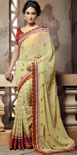13. Lemon yellow coloured designer cotton-silk party wear chanderi saree