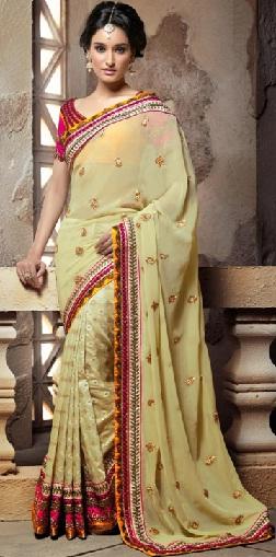 13. Lemon yellow coloured designer cotton-silk party wear chanderi saree