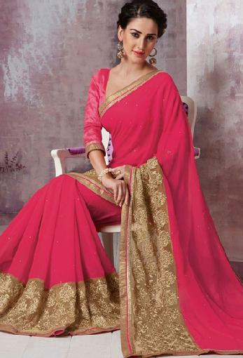 13. Pink coloured designer chiffon and net saree