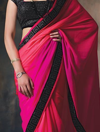 13.Pink chiffon saree with velvet border with stones