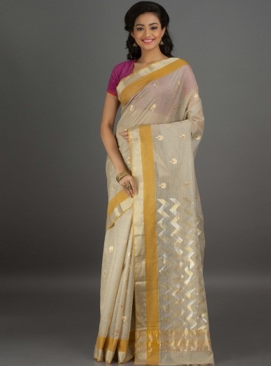 14. Cream chanderi cotton saree with golden and yellow border